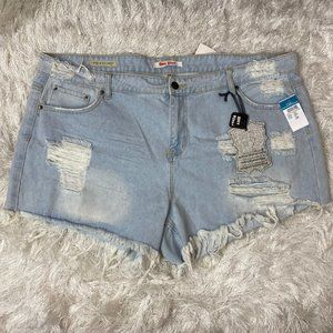NEW HOT KISS DESTRUCTED DISTRESSED JEAN SHORTS 22